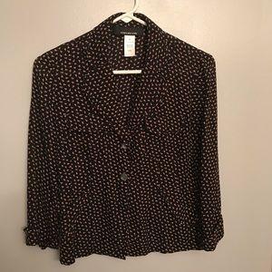 Dainty floral print blazer style blouse size 4